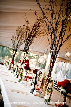 cool tree branches for center pieces with things hanging off of them