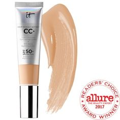 What it is: A bestselling, award-winning, full-coverage, color-correcting cream with antiaging skin care and SPF 50+ sunscreen.What it does:This color-correcting cream provides full, flawless coverage and protects skin with SPF 50+ UVA/UVB broad-spec