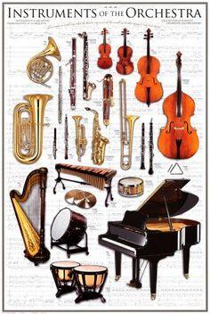 Instruments d'un orchestre symphonique Affiche sur AllPosters.fr Confira aqui http://mundodemusicas.com/lojas-instrumentos/ as melhores lojas online de Instrumentos Musicais.