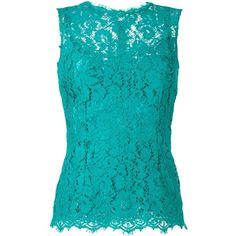 Dolce & Gabbana lace tank top ($1,340) ❤ liked on Polyvore featuring tops, green, blue lace tank top, blue tank, sleeveless tank, blue top and green tank