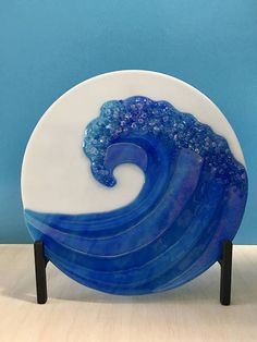 OCEAN WAVE in Heavy Iron Stand Fused Glass Art 11
