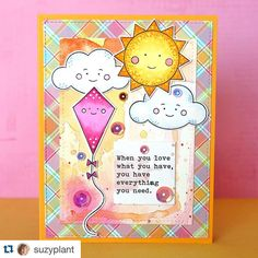 """Our May card kit is almost sold out!  Hurreeeeee if you still want one #Repost @suzyplant with @repostapp. ・・・ I just put up a new """"one stamp, five ways"""" blog post using the @simonsaysstamp May card kit and Happy Days stamp set. Come visit - six cards on there. I've been a busy creator as I'm stuck in bed with a bad back. Not a bad place to be but I've been watching politics all day. I will say nothing but that I love Carly! #sssck #simonsaysstamp #watercolor #watercolors #copic #lawnfawn…"""