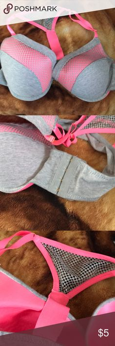 Rue21 bra It is pink gray with a cute think they call it racer back and the Thing I like the most is that to close it you just have to post it on your side and not fully in the back but sadly there is a stain in one of the inner bra tops I only wore it once or twice just a little too big for me Intimates & Sleepwear Bras