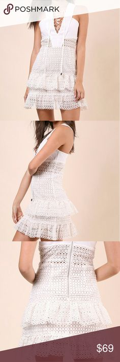 Brooklyn Karma White Crochet Mini Dress NWT White crochet mini dress, lined with nude fabric, rear zipper closure, size Medium, great condition tag attached Brooklyn Karma Dresses Mini