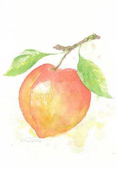 Fruit, fruit print, giclee art, watercolor, watercolor painting, watercolor art print, Orange peach, original watercolor, giclee print