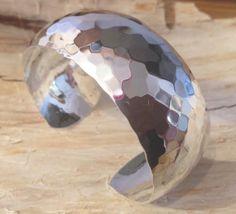 Sterling Silver Hammered Wide Cuff Bracelet