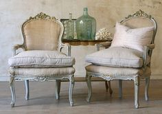 lots of *gorgeous* shabby chic, vintage, and antique furniture on this site, like this pair of french style chairs