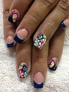 Arte Lu Color For Nails, Love Nails, Fun Nails, Flower Nail Designs, Toe Nail Designs, Powder Nails, Accent Nails, French Nails, Nails On Fleek