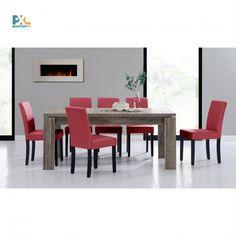 Jedálenská zostava 1+6. Elegantný jedálenský stôl  170x79 cm s delenou doskou pre 8 osôb. Vo farbe tmavý dub spolu so 6 jedálenskými stoličkami. Stoličky sú čalúnené bordovou ekokožou.