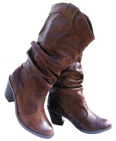best boots i have found so far    Brown Mid-Heels Cowboy Mid-Calf Slouchy Leather Likes Women Boots Size 5.5 - 11
