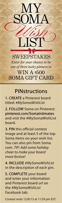 Enter to win 1 of 3 $500 Soma Gift Cards! #MySomaWishList
