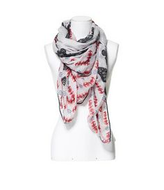 BUTTERFLIES AND FLAGS PRINTED SCARF