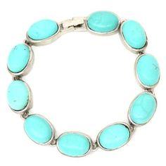 Silvertone Turquoise Stone Link Bracelet
