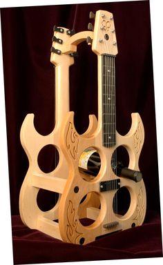 Guitar wine holder
