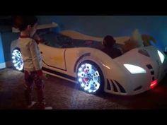Childrens Ferrari 458 Italia Style Super Car Bed Frame By Bianco Furniture Customer   White - YouTube