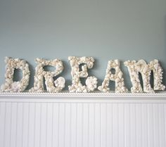 5pc Beach Decor Seashell Letters - Nautical Decor Shell Letters Spell DREAM in White or Natural