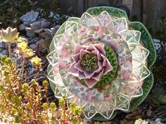 Plate Flowers #433 Drought Resistant.        Garden Yard Art glass and ceramic plate flower