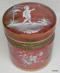 Antique Victorian Cranberry Glass Enamel Bronze Mounted Trinket Box Jar 1318 I | eBay