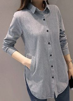 Stripe Print Button Up Grey Long Sleeve Shirt on sale only U Kurta Designs Women, Blouse Designs, Grey Long Sleeve Shirt, Grey Shirt, Stil Inspiration, Hijab Fashion, Fashion Outfits, Hijab Stile, Trendy Tops For Women