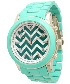Ladies Geneva Boyfriend Chevron Style Link Watch - Mint Green