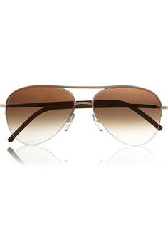 Aviator-style leather-trimmed sunglasses #accessories #sunny #covetme #cutlerandgross