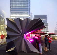 Folded metal kiosks by Make Architects.