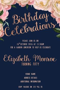 50th Birthday Party Invitation Digital Printable Template