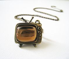 Vintage Style Antique Brass Televsion Necklace by lunashineshine, $18.00