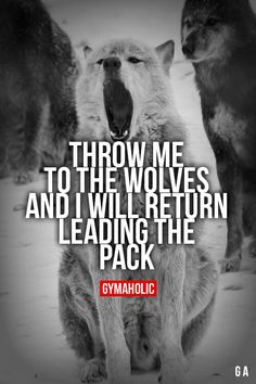 Throw Me To The Wolves And I will return leading the pack! More motivation ->… Wolf Quotes, Me Quotes, Motivational Quotes, Inspirational Quotes, Qoutes, Fitness Motivation, Fitness Quotes, Great Quotes, Quotes To Live By