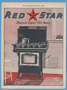 1920 Detroit Vapor Stove Co. MI Red Star Oil Range Cook NICE Kitchen Decor Ad