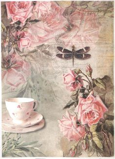 Rice Paper for Decoupage Decopatch Scrapbook Craft Sheet Vintage Tea & Roses