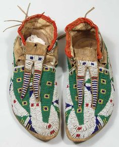 Central Plains Beaded Hide Moccasins, circa 1900