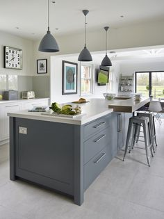 This carefully designed painted kitchen achieves a harmony with the garden and the field outside and the house itself which is how our client directed us. Industrial Furniture, Kitchen Furniture, Kitchen Dining, Dining Room, Kitchen Inspiration, Interior Inspiration, Interior Ideas, Kitchen Ideas, Contemporary Classic