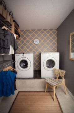 Make your OWN stencil!! Follow along with this DIY of a gorgeous yellow and grey laundry room makeover.