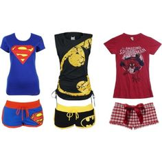 "Superhero pajamas. You could do it with any superhero with merchandise, of course, not just the ""big three"". GIVE ME THE MIDDLE ONE"