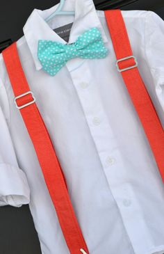 Easter Aqua Turquoise Polka Dot Bowtie & Coral Suspender Set - Baby / Toddler / Child