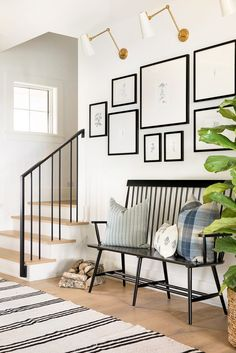 Are you searching for pictures for farmhouse interior? Check this out for unique farmhouse interior images. This kind of farmhouse interior ideas will look completely brilliant. Modern Entryway, Modern Farmhouse Decor, Entryway Decor, Modern Decor, Entry Foyer, Farmhouse Style, Modern Farmhouse Gallery Wall, Modern Gallery Wall, Modern Basement