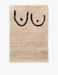 From Cold Picnic, a hand tufted 2 x 3 rug crafted from 100% wool yarn with suggestive, minimalist private parts patterning.   	•	Handcrafted wool rug 	•	Minimal, suggestive patterning 	•	100% Wool yarn  	•	Made in USA
