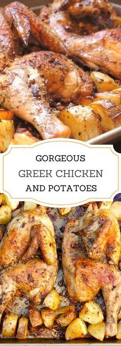 Gorgeous Greek Chicken and Potatoes with garlic, oregano, and loads of lemon.