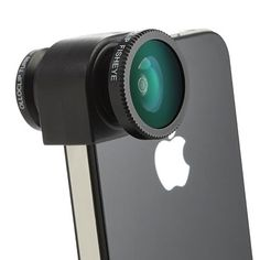 clip-on lens for iPhone; includes fish-eye, wide angle, and macro.