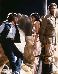 """Spielberg. Allen. Ford. (On the set of """"Raiders of the Lost Ark,"""" c. 1981.)"""
