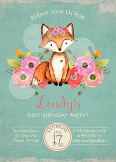 Woodland Fox Birthday Party Invitation Forest by socalcrafty