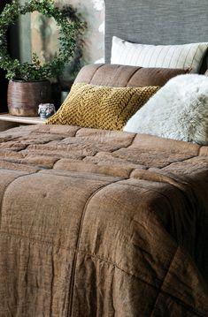 Noma copper bedspread made from a copper chambray linen Bed Linen Design, Bed Design, Linen Fabric, Linen Bedding, Fine Linens, Bedspread, Contemporary Interior, Interior Decorating, Bedroom Decor