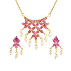 Gold Tone Indian Bollywood Ethnic American Diamond Traditional Pendant Necklace with Chain and Earrings Jewelry for Girls/Women * More info could be found at the image url. (As an Amazon Associate I earn from qualifying purchases)