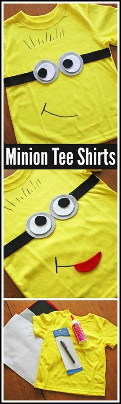 Minions Tee Shirt DIY. Make these as party favors or a party craft at your Minions birthday party or Despicable Me birthday party!  CatchMyParty.com