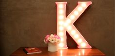 """DIY Marquee Letter by Kara Paslay. Fun and functional """"name in lights"""" initial. I love her fresh perspective! Creative Crafts, Fun Crafts, Creative Ideas, Diy Marquee Letters, Crafty Craft, Clever Diy, Girl Room, Fun Projects, Diy Furniture"""