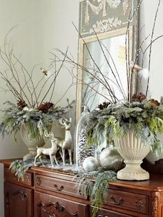 "White Christmas decor with a beautiful French Trumeau mirror"" data-componentType=""MODAL_PIN"