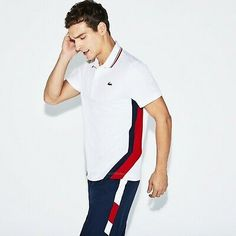 Players will thrill to this Lacoste Sport Tennis polo in run-resistant technical piqué with piping and colorblock bands. Polo Shirt Outfits, Mens Polo T Shirts, Polo Shirt Women, Outfit Jeans, Polos Lacoste, Lacoste Sport, Lacoste Men, Polo Shirt Design, Tennis Shoes Outfit