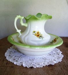 Large Signed Vintage Wash Basin Bowl and Pitcher with HAND PAINTED Sunflowers