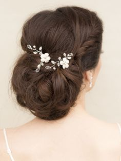 Rhinestone bobby pin bridal hair clip set of 3 bridesmaid gift lana white or ivory flower bridal hair pin junglespirit Choice Image